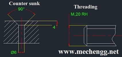 counter sunk and threading Dimension