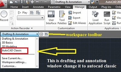 how to change view to autocad classic view