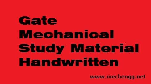 Gate Mechanical Handwritten Study Materials Notes
