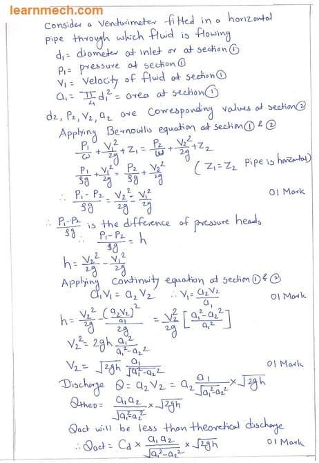 venturimeter discharge derivation