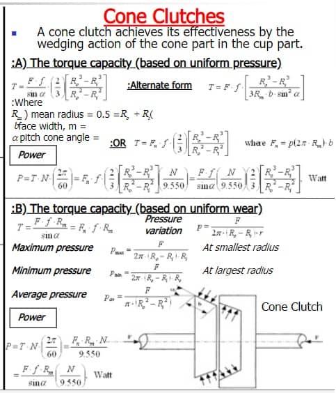 cone clutch formulas