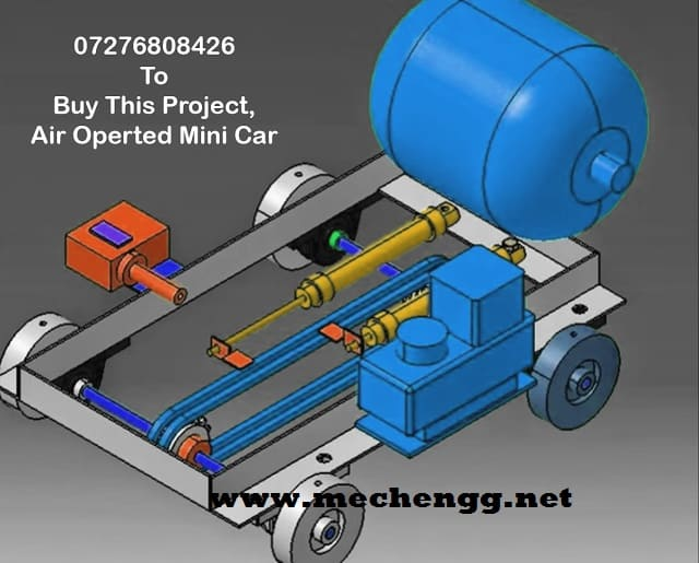 3D Model Of Design and fabrication air operated mini car