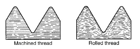 Difference Between Machined and rolled threads grain structure