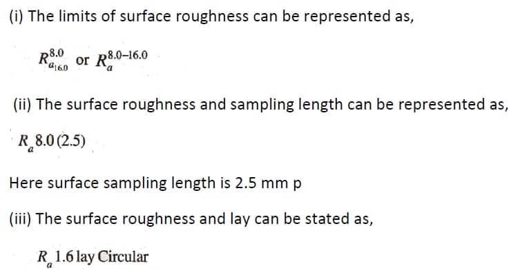 ISI Symbols for Indication of surface Finish