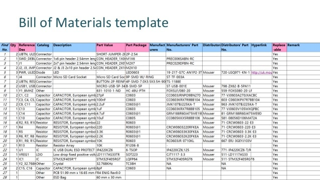 engineering bill of material template word excel download