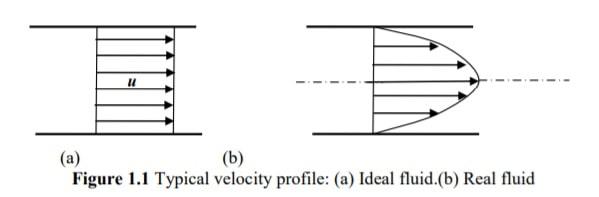 ideal fluid vs real fluid - Velocity Profile