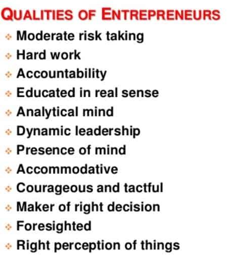 quality of enterpreneurs
