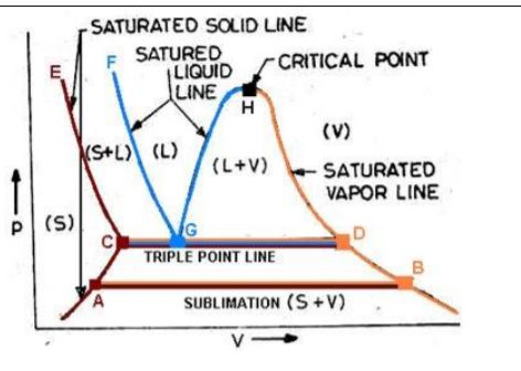 Triple point represented in the p V diagram