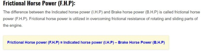 frictional horse power